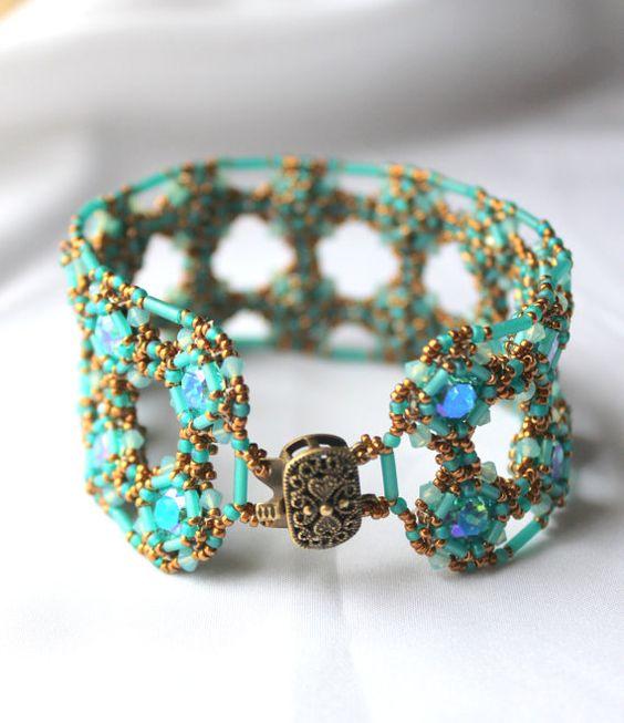 Hand Beaded Bracelet with Swarovski Light Turquoise by pjlacasse