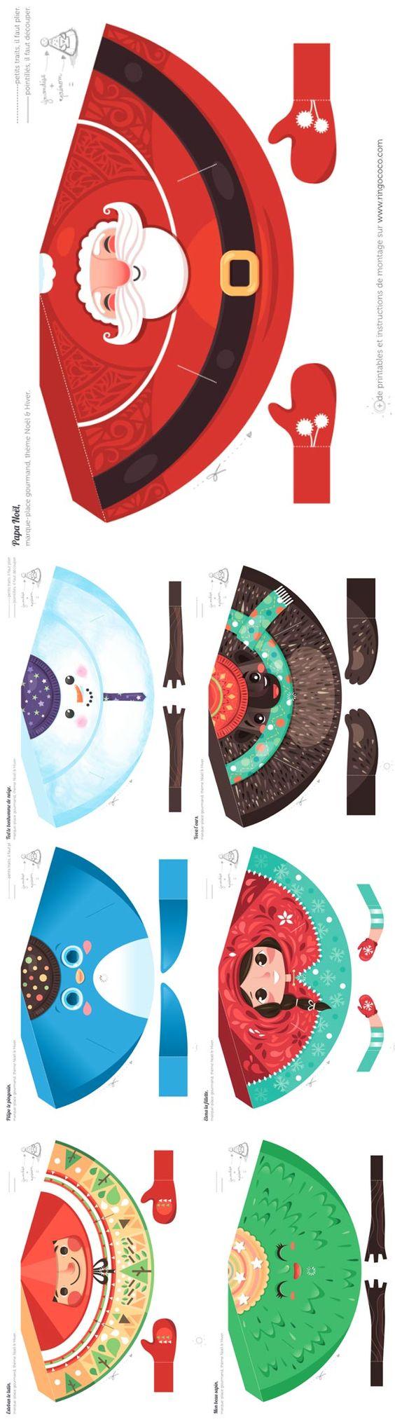 856 marque place paper toys template marque places de no l noel pinterest jouets marque - Marque place noel a imprimer ...