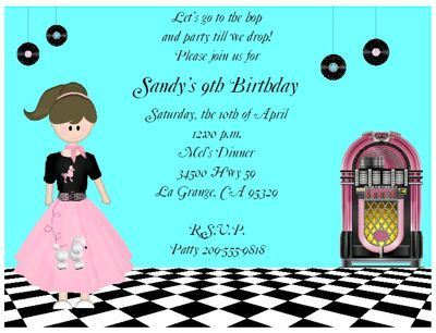 Fabulous Fifties Birthday Party Invitation Keepsake Imprints – Online Party Invites