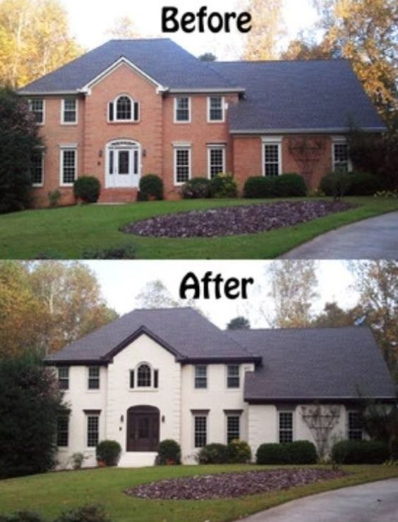Painted house before after careful to use lim wash to minimize upkeep home decor exterior House transformations exterior