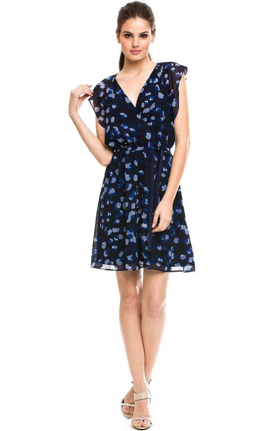 Ruffle Sleeve Printed Dress - New Arrivals - Womens - Armani Exchange