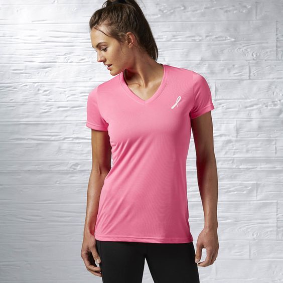 Reebok AVON 39 Pink Ribbon Tee (1995 RSD) ❤ liked on Polyvore featuring activewear, activewear tops, apparel, solar pink, reebok sportswear, reebok activewear, logo sportswear, reebok and pink sportswear