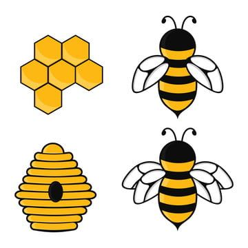 Bee Set Colored Honey Bees Honeycombs Beehive Vector Illustration Bee Clipart Bee Icons Honey Icons Png And Vector With Transparent Background For Free Downl In 2021 Bee Icon Bee Clipart Bumblebee Animal