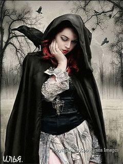 Девушка с вороном, сидящем у неё на плече. - анимация на телефон №1337028