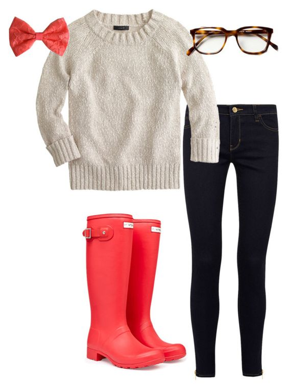 """""""OOTD PSAT at school today, and it was raining!!"""" by agirlyprepster ❤ liked on Polyvore featuring MICHAEL Michael Kors, Hunter and J.Crew"""