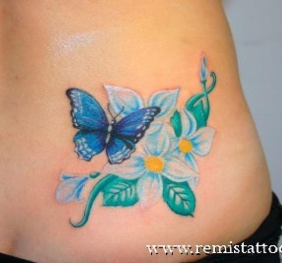 Butterfly tattoos flores y mariposa a colores lindos en for Tattoo de flores