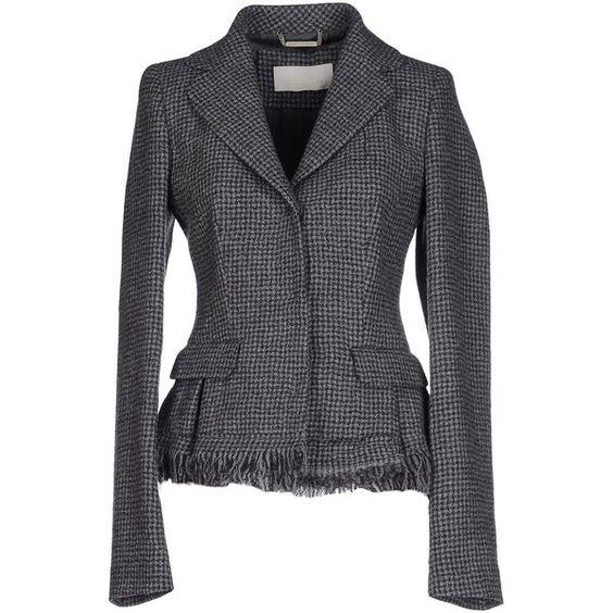 Scervino Street Blazer ($410) ❤ liked on Polyvore featuring outerwear, jackets, blazers, grey, gray jacket, gray blazer, grey flannel blazer, fringe blazer and multi pocket jacket