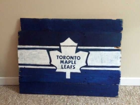 Toronto Maple Leafs hockey logo painted wood sign for man cave