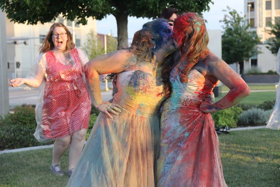 LGBTQ, Lesbian, Wedding, Holi, Powder, Same Love, OKC, Oklahoma City, trash the dress