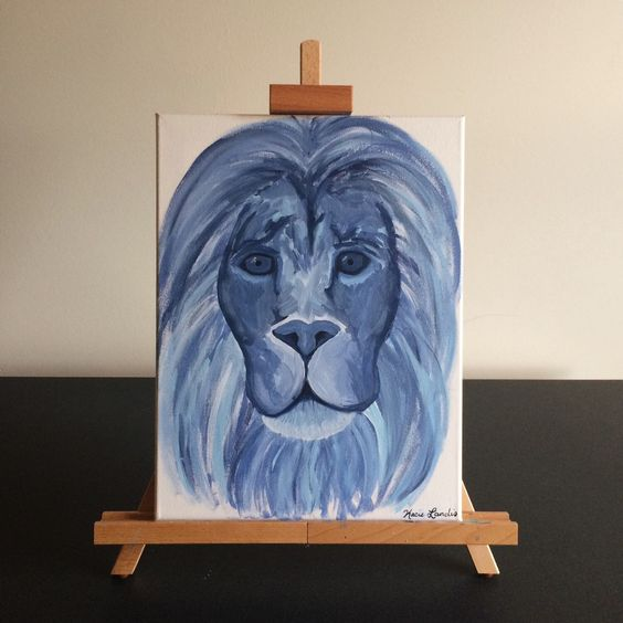 A personal favorite from my Etsy shop https://www.etsy.com/listing/245093639/12x16-blue-lion-anstract-lion-animal