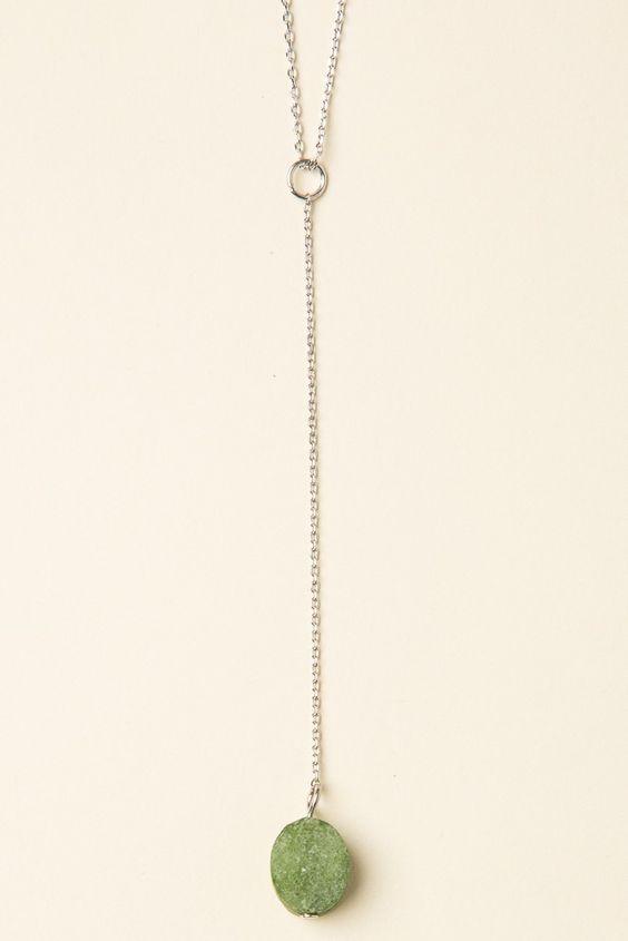 Brandy ♥ Melville | Green Quartz Stone Drop Necklace - Accessories