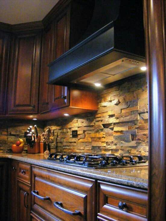 copper stones stacked stone backsplash kitchens stone backsplash
