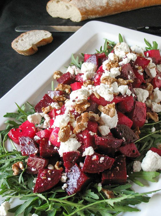 Oooh this looks amazing. Roasted Beetroot, Goats Cheese & Walnut Salad. A great main course salad.