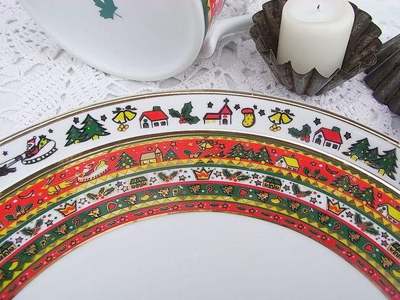 Vintage Weihnachtsdeko - Tortenplatte Weihnachtsservice Merry Christmas - ein Designerstück von artdecoundso bei DaWanda