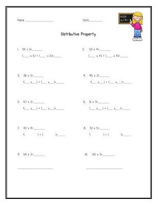 Worksheet Distributive Property Worksheets 5th Grade distributive property math practices and on pinterest