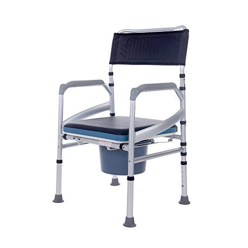 Sukong Lightweight Portable Bedside Commode Shower Chair With Toilet Style Seat And Cover Shower Chair Bedside Commode Chair