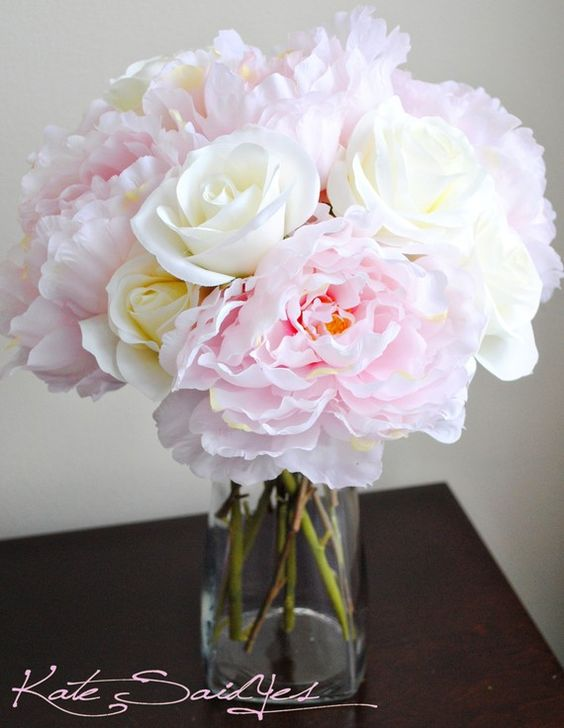 light pink peonies and white roses