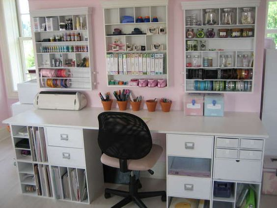 Great use of wall space in craft or sewing room.