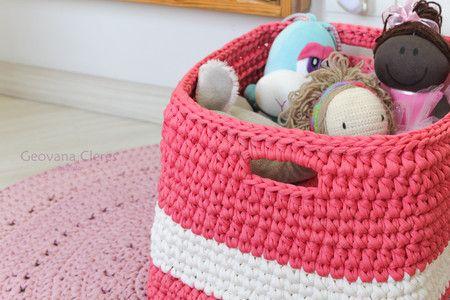 Cesto - porta brinquedos em cordão