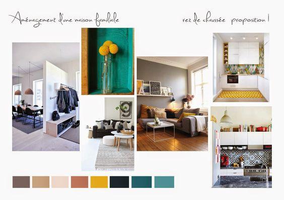 Planche tendance salon cuisine ouverte (bleu canard, jaune ...