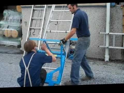 Safety Hoist Roofing Power Ladders Hoists Youtube Hoist Ladder Power