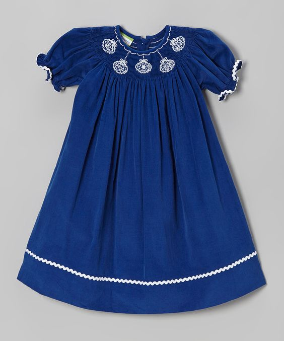 Royal Blue Ornaments Corduroy Bishop Dress - Toddler & Girls | Daily deals for moms, babies and kids