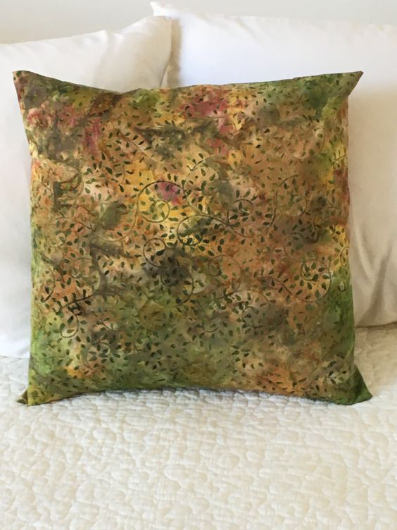 Green and Brown Batik Pillow Cover Swappillow Covers Gift