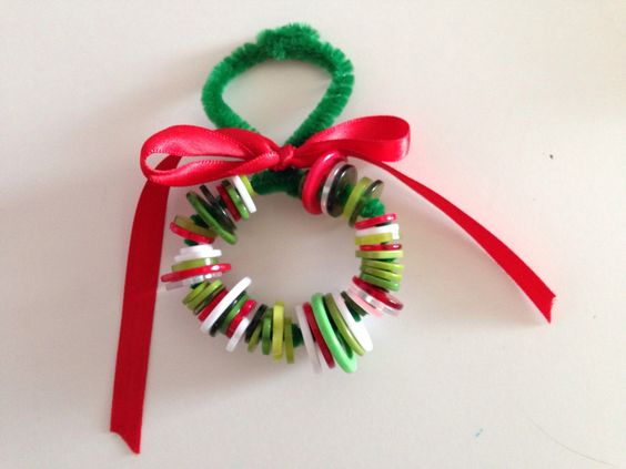 Button Christmas Ornament  Super simple!   1 pipe cleaner, 50 buttons, ribbon  Easiest school party craft I have done so far.