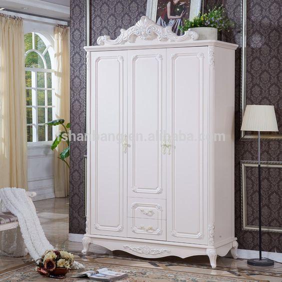 Blanco antiguo estilo europeo francés 3 puerta de madera tallada ...