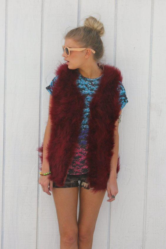 Red Ostrich Waistcoat