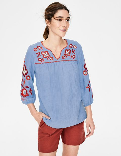 Womens Tunic Top Asymmetrical Tunic Blouse Boho Resort Wear Drape Sleeves With Ruched Side Blue Tunic Top
