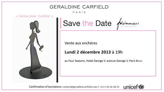 """GERALDINE CARFIELD JEWELLERY soutient l'Unicef avec sa poupée """"Geraldine Chérie"""". Venez nombreux à la vente aux enchères qui aura le 2 décembre 2013 au Four Seasons à Paris."""