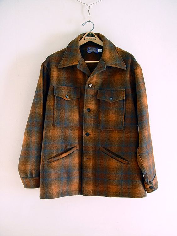 Vintage Mens Pendleton Wool Jacket Coat Brown Rust Black and Grey