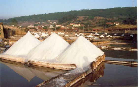 The cones of salt at the pans of Rio Maior.