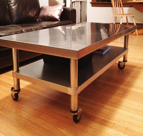 Stainless Steel Coffee Table With Adjustable Shelf On