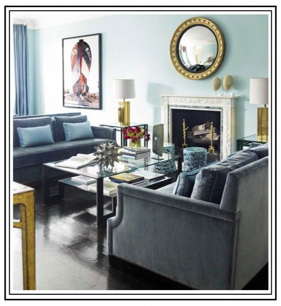 hillary thomas- twin facing couches and glass coffee table