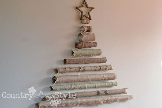 burlap roll tree, christmas decorations, crafts, seasonal holiday decor