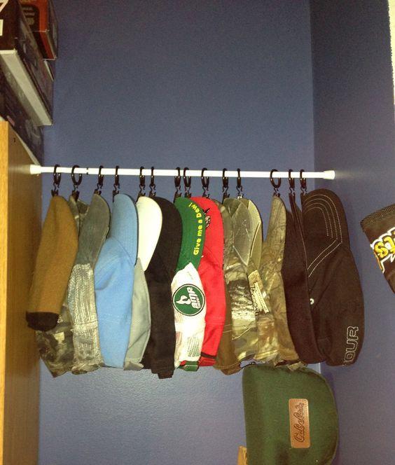 Hang Baseball Caps On A Tension Rod Clothes Hanger Storage Bedroom Closet Storage Dorm Organization