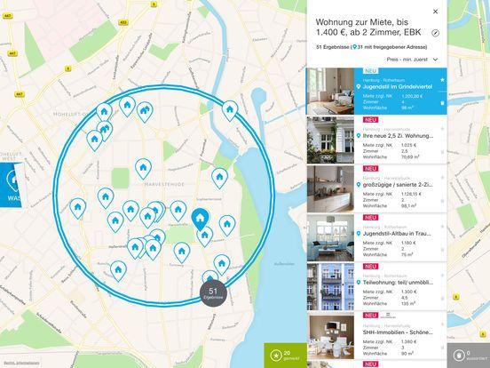 Die Immonet iPad-App: - intuitive Zeichnen-Funktion: Natürlich bietet die Immonet App auch eine klassische Ortssuche. Darüber hinaus ermöglicht das Zeichnen-Feature jedoch eine noch simplere Möglichkeit, den persönlichen Suchbereich festzulegen. Umrande einfach einen oder mehrere Wohngebiete, in denen Du suchen möchtest, mit dem Finger auf der Karte. Unpassende Gebiete können im Zeichnen-Modus radiert werden.  - wichtige Locations pinnen