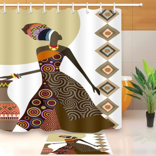 Afro African American Black Girl Makeup Shower Curtain 180cm