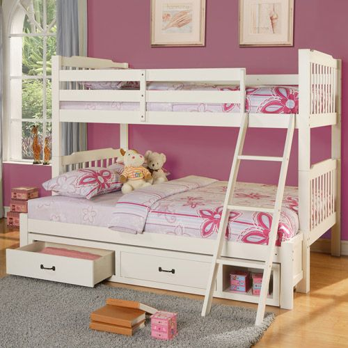 Multiple bunk beds elise twin over full bunk bed with storage soft white kids teen - Kids twin beds with storage drawers ...
