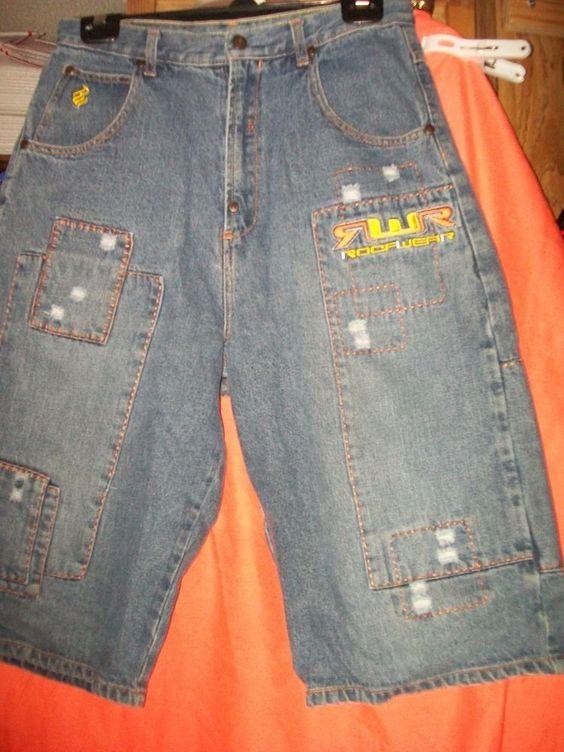 W30 L14  Rise 13 or size 20 Roca Wear Blue Destroyed Look 100% Cotton Shorts  #Rocawear #Denim