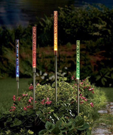 Driveway Lights Guide Outdoor Lighting Ideas Tips: 4 Color Solar Tube Light Bubbles Lawn Yard Walkway Path