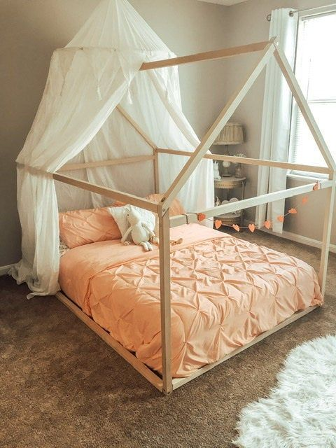 Wood Bed Full Double Toddler Bed Frame Tent Bed Wooden House Bed Frame Wood Nursery Bed House Baby Bed Wood Bed Kids Bed Gift Slats In 2020 House Frame Bed Bed Tent