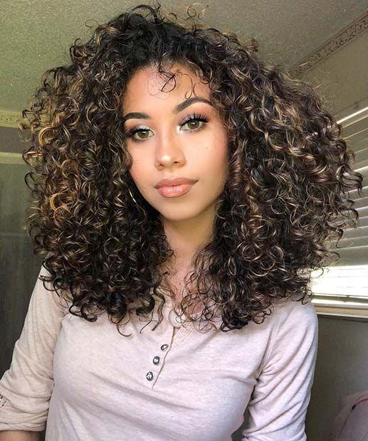 Dark Blonde Highlights For Curly Hair Highlights Curly Hair Natural Curls Hairstyles Hair Highlights