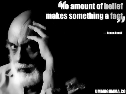 James Randi (aka the Amazing Randi), professional magician and debunker of claims of supernatural powers.