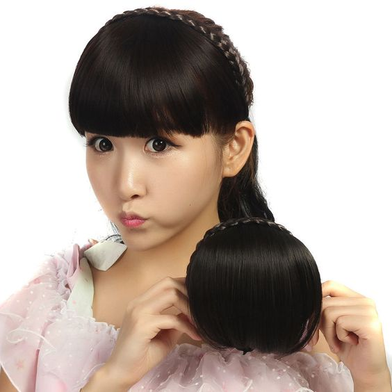 Women Synthetic Braid Headband False Neat Bangs Fringe Clip in Hair Extensions #HairQueen #Bangs