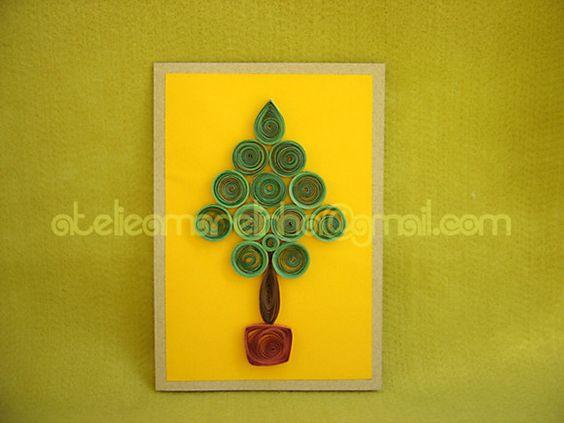 Cartão Árvore de Natal em Quilling