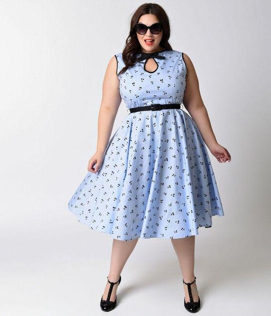Hell Bunny Plus Size 1950s Style Blue & Black Cherry Martina Swing Dress