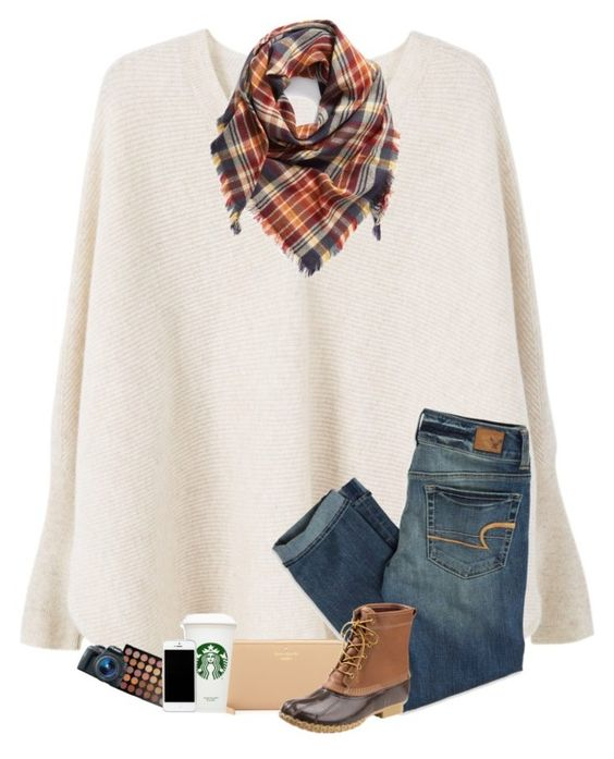 """Shopping haul in description!"" by sanddollars ❤ liked on Polyvore featuring MANGO, BP., American Eagle Outfitters, Kate Spade, L.L.Bean, Morphe and Eos"
